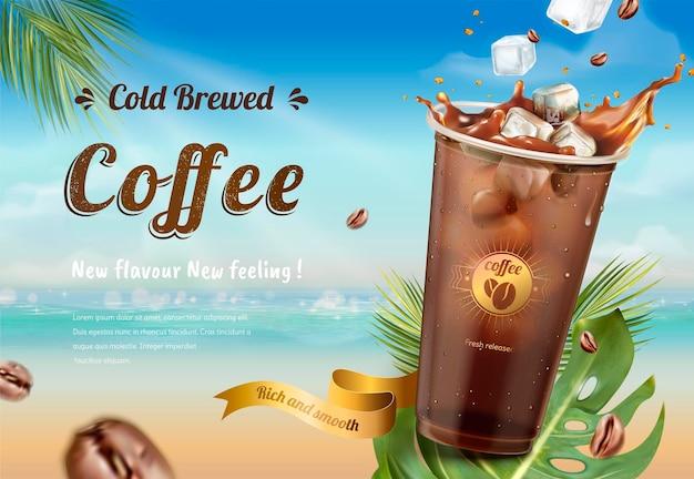 Koud brouwsel koffiebanner op het strand van de zomervakantie in 3d-stijl