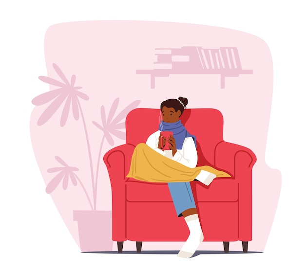Koud thuis concept. bevroren vrouwelijk personage verpakt in warme geruite en winterkleren zittend in een fauteuil met warme drank. lage graden temperatuur, koud weer bevriezen. cartoon vectorillustratie