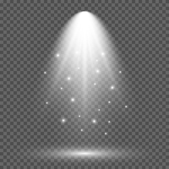 Koud witte verlichting met spotlight. scèneverlichtingseffecten op een donkere transparante achtergrond. vector illustratie