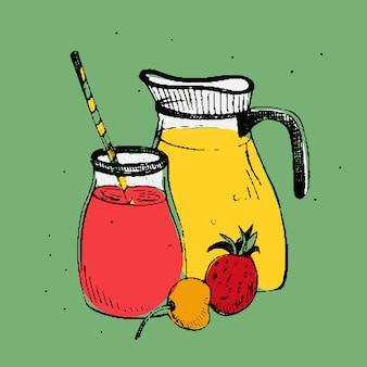 Koude dranken met fruit en bessen. pot en glas met verse smoothie. kleurrijke vierkante afbeelding op groene achtergrond.
