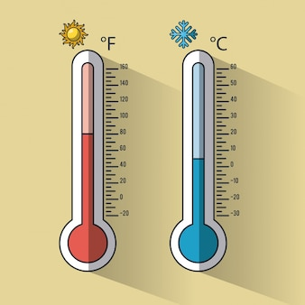 Koude en warme thermometer temperaturen