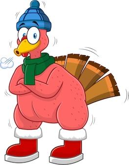 Koude turkije vogel stripfiguur. illustratie geïsoleerd op een witte achtergrond