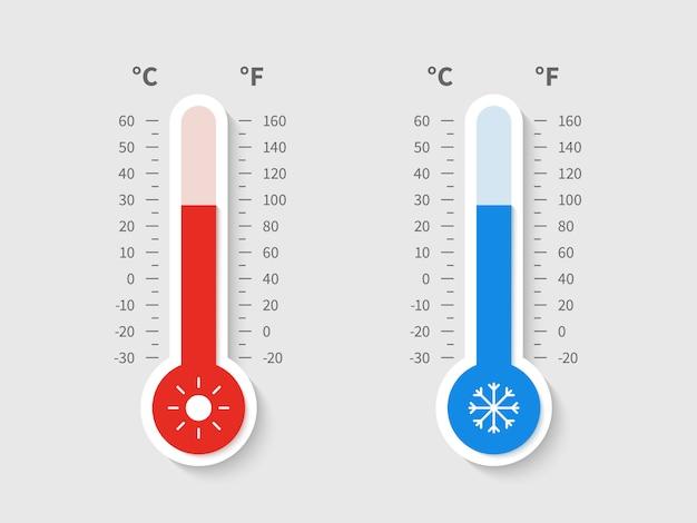 Koude warme thermometer. temperatuur weer thermometers celsius fahrenheit meteorologische schaal, temperatuur controle apparaatpictogram