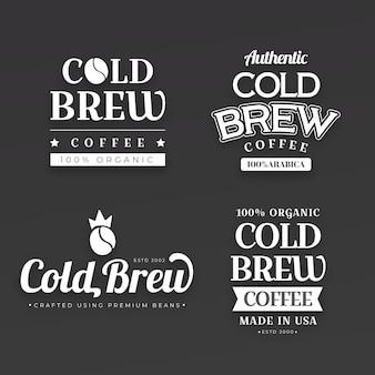 Koudgezette koffie-etiketten instellen