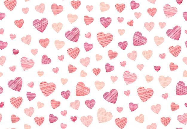 Kousen hart naadloze patroon in borduurwerk op de witte achtergrond.