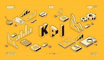 KPI bedrijfsprestatiestrategie en analyseillustratie in thine lijn isometrisch ontwerp