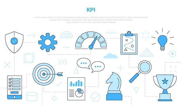 Kpi belangrijke prestatie-indicator concept met stijl ingesteld pictogrammalplaatje met moderne blauwe kleur vectorillustratie