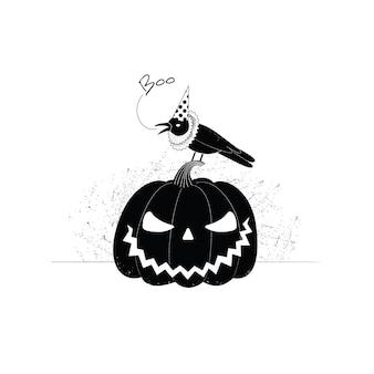 Kraai in pet en kraag zit op pompoen spooky halloween-illustratie voor banner of ansichtkaart