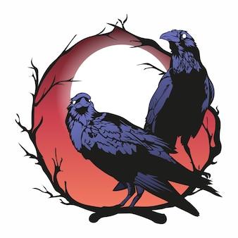 Kraaien vector illustratie, zwarte horror raven