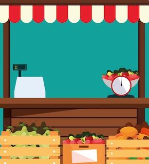 Kraamkiosk gevel van winkel fruit