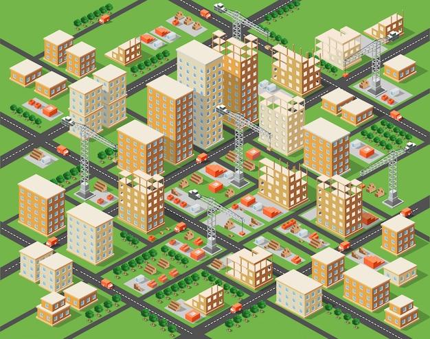 Kraan bouw industrie stad isometrische stad
