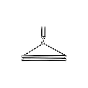 Kraan haak hand getrokken schets doodle pictogram. gebouw plaat opknoping op een industriële kraan haak vector schets illustratie voor print, web, mobiel en infographics geïsoleerd op een witte achtergrond.