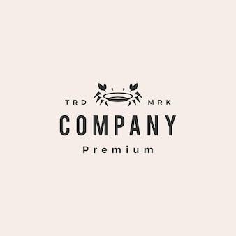 Krab bord restaurant zeevruchten hipster vintage logo sjabloon