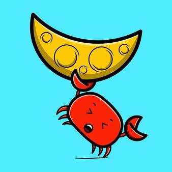 Krab en maan karakter kawaii ontwerpen