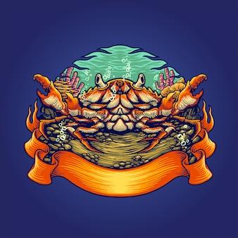 Krab habitats illustratie