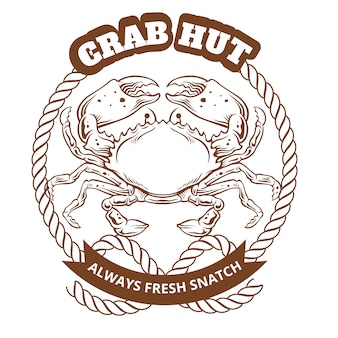 Krab hut embleem. vector illustratie