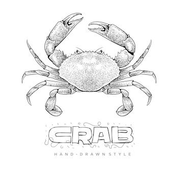 Krab vector in hand getrokken stijl. realistische dierenillustraties