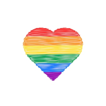 Krabbel gekleurd hart pictogram. concept van niet-traditionele, gelukkige valentijnsdag, levensstijl, geslacht, huwelijk, gbt. geïsoleerd op een witte achtergrond. handgetekende stijl moderne logo ontwerp vectorillustratie