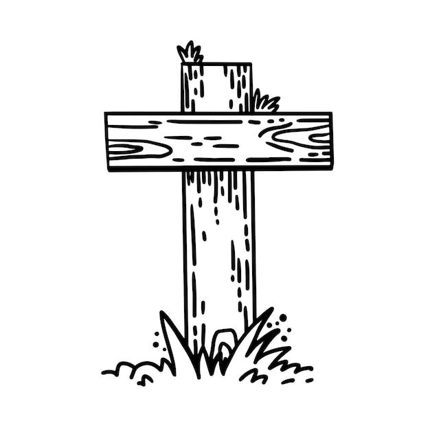 Krabbel hand getekende kruis vector schets stijl