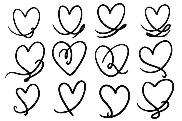 Krabbel hartvormige doodle clipart
