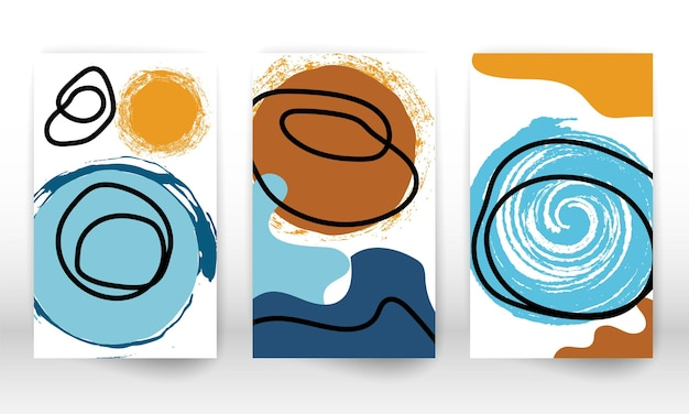 Krabbel ontwerp. moderne abstracte schilderkunst. set geometrische vormen. abstracte hand getrokken aquarel effect ontwerpelementen. moderne kunstafdruk. eigentijds design met doodle vormen.
