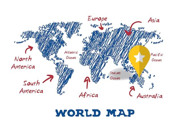 Krabbel tekening wereldkaart vector