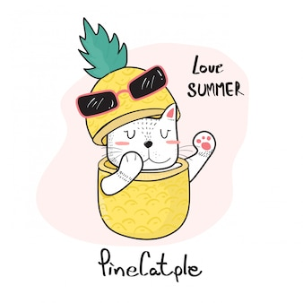 Krabbelhand die leuke kat trekken die door een ananas gluren