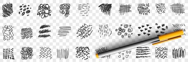Krabbels, lijnen, tekeningen, doodle, set, illustratie