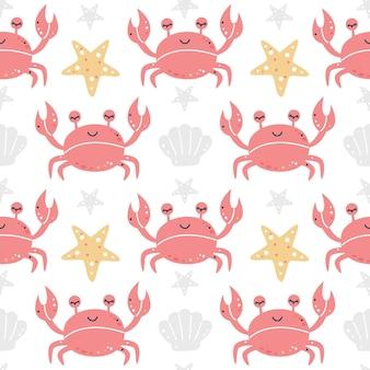 Krabben met zeesterren en schelpen naadloos patroon
