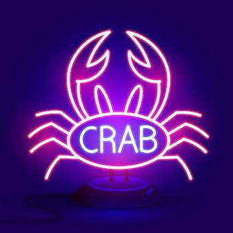 Krabteken met neonlicht gloeiende vectorillustratie