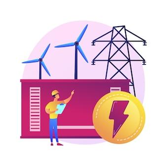 Krachtcentrale, elektrische energieopwekking, elektriciteitsproductie. power engineer stripfiguur. energie-industrie, elektrische installatie.