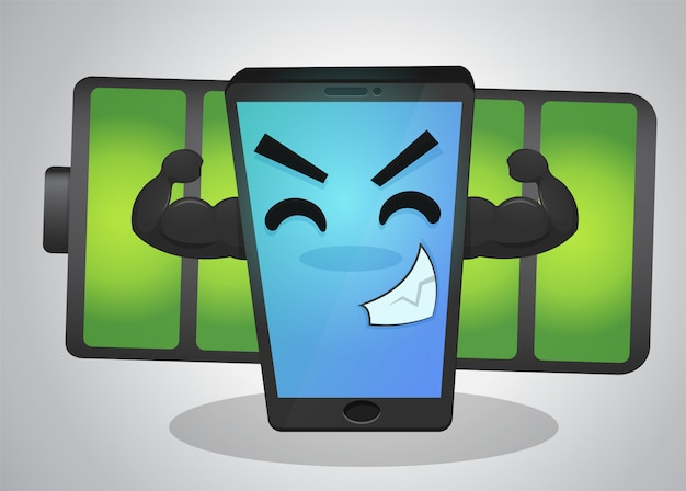 Krachtige mobiele telefoon cartoon omdat de batterij vol is.