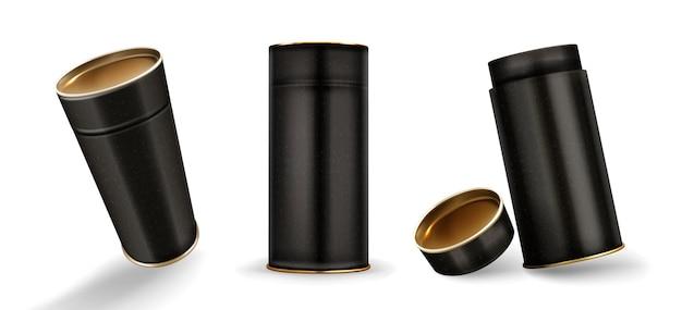 Kraft-buisdozen mockup, gesloten en open kartonnen cilinders van gespikkelde zwarte kleur