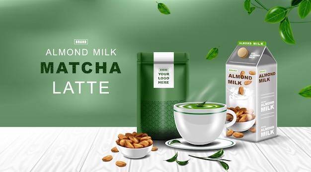 Kraftpapier folie ritssluitingszak voedsel opstaan zakje met groene thee latte kop en amandelmelk
