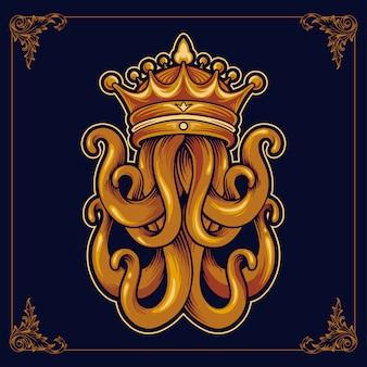Kraken king octopus with crown luxury