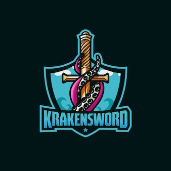 Kraken sword awesome logo sport