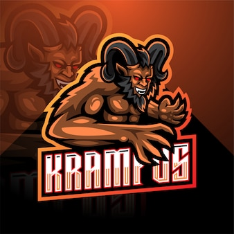 Krampus esport mascotte logo sjabloon