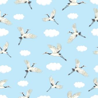 Kranen vliegen naadloos patroon