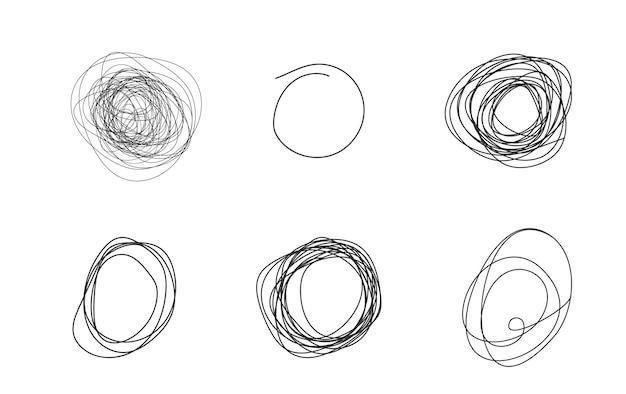 Krankzinnige rommelige lijnset van rommelige clew-symbolen die daartussen zijn verbonden lijn van symbolen met gekrabbeld