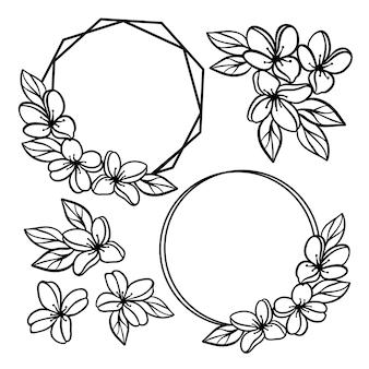 Krans huwelijk monochroom collectie van bloemen en jasmijn boeketten in cirkel frame opengewerkte contouren voor afdrukken cartoon cliparts vector illustratie set
