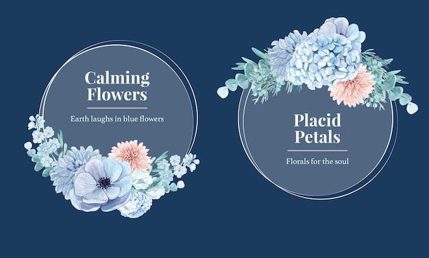 Krans met blauw bloem vreedzaam concept, aquarelstijl