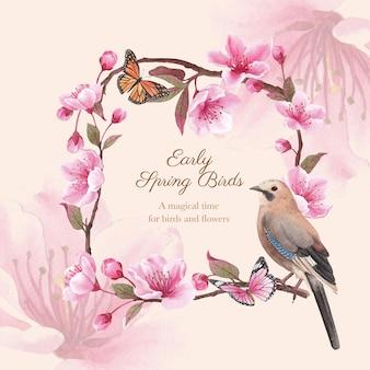Krans met bloesem vogel conceptontwerp aquarel illustratie