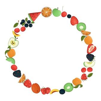 Krans met fruit en bessen