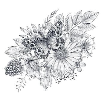 Krans met handgetekende bloemen, bladeren, takken en vlinder in schetsstijl. monochroom vectorillustratie