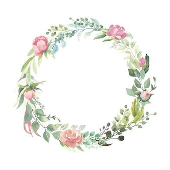 Krans met roze bloemboeketten.