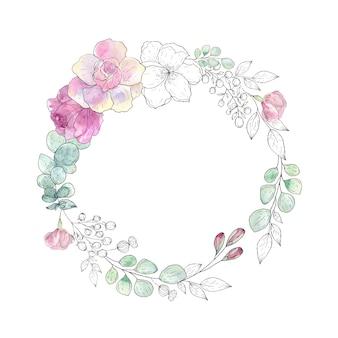 Krans van bloemen en bladeren