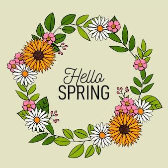 Krans van bloemen en de lente is hier
