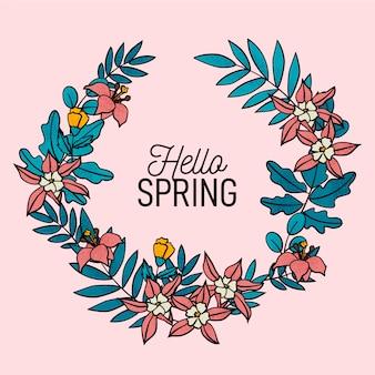 Krans van bloemen en hallo lente