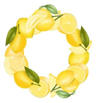 Krans van hand getrokken citroenen, geïsoleerde illustratie