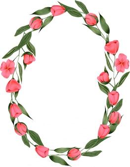 Krans van handgeschilderde karmozijnrode bloemen